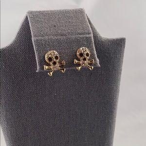 Jewelry - Gold and rhinestone skull earrings